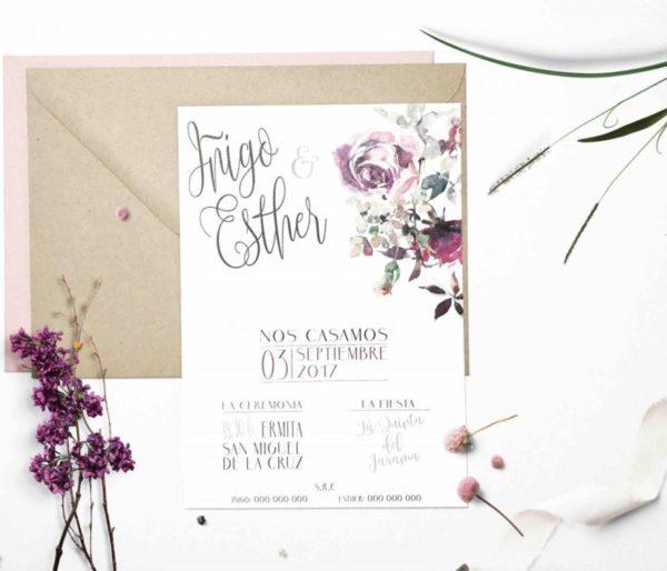 invitaciones de boda con flores de acuarela