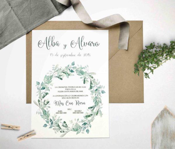 Invitacion de boda tonos verde