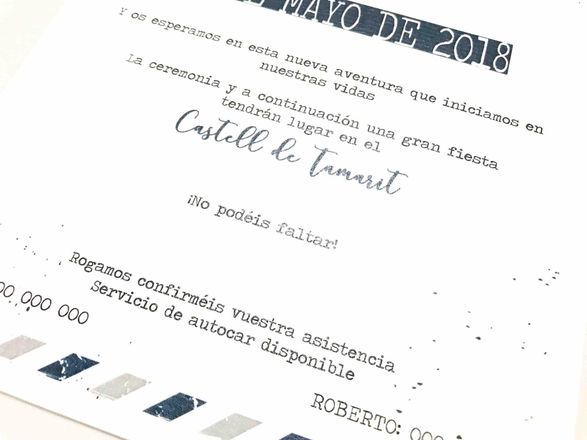 invitacion de boda viaje detalle letras