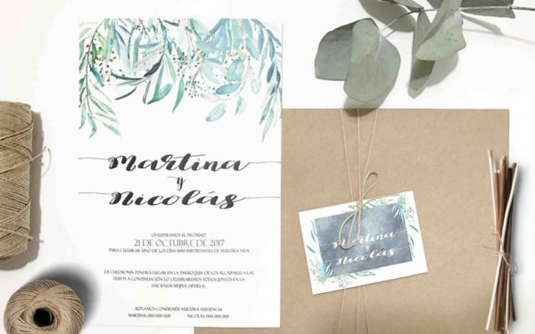 invitaciones de boda color verde