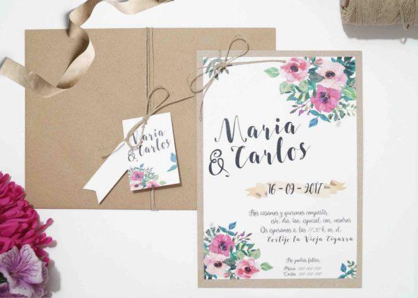 invitaciones de boda florales acuarela