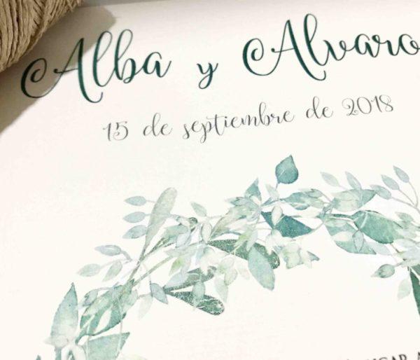 Invitacion de boda tonos verde detalle color