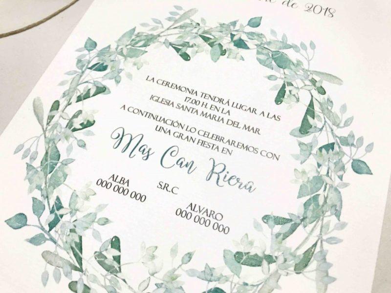 Invitacion de boda tonos verde detalle ramas