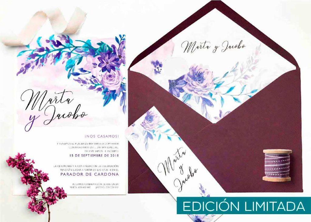 invitación de boda color violeta