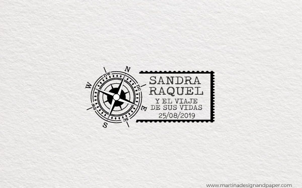 sello de madera para boda viaje