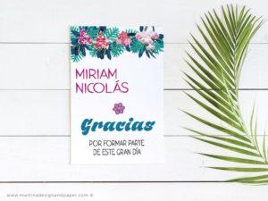 gracias boda estilo tropical