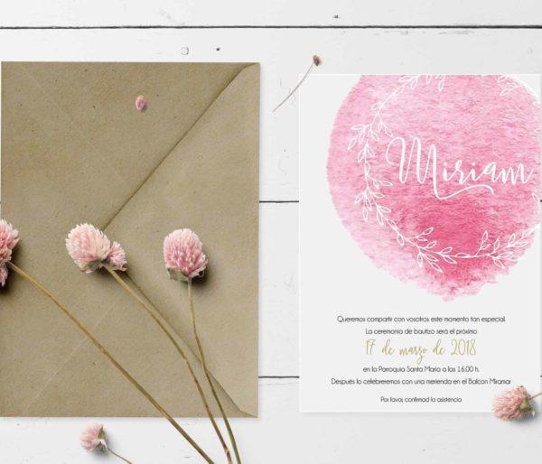 invitacion bautizo con rosa digital