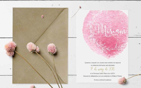 invitacion bautizo con rosa impresa