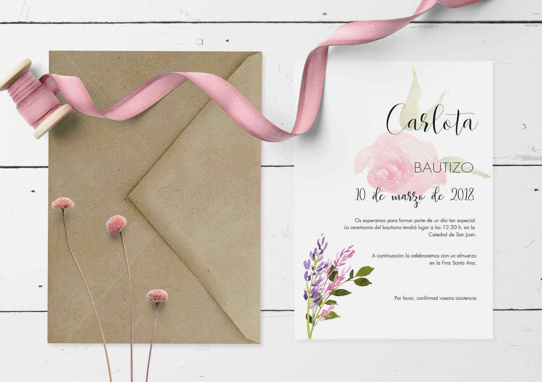 Invitación Bautizo Niña Digital Rosas