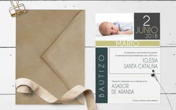 invitacion de bautizo nene impresa
