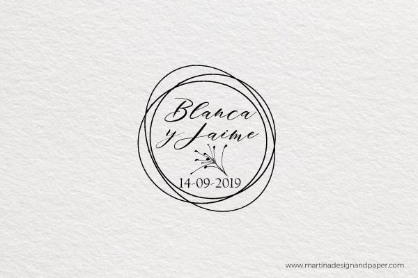 sello de boda elegante de madera