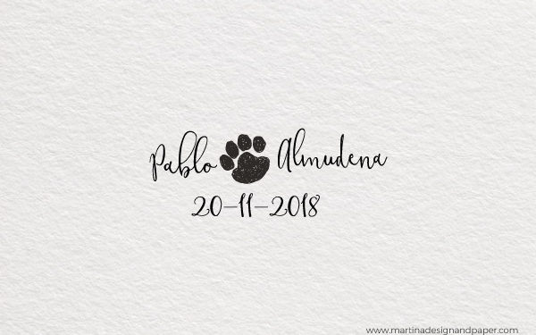 sello de boda huella perro
