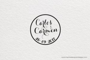 sello de boda letra caligrafica
