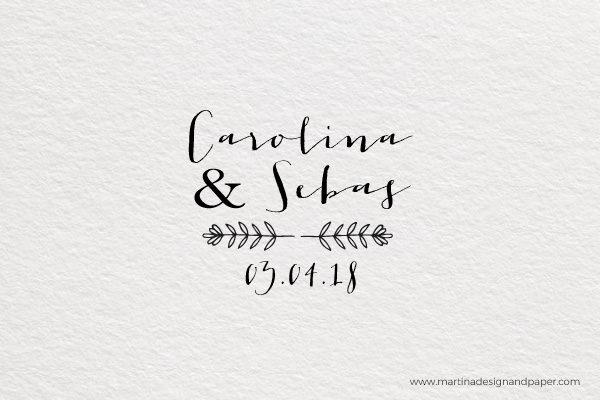 sello de madera para boda campestre