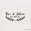 sello de madera para boda eucalipto