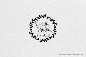 sello de madera para bodas corona redondo