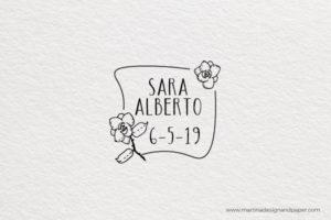 sello de madera para boda original con flores