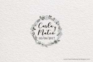 sello para boda con corona de flores