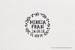 sello para boda personalizado ramas