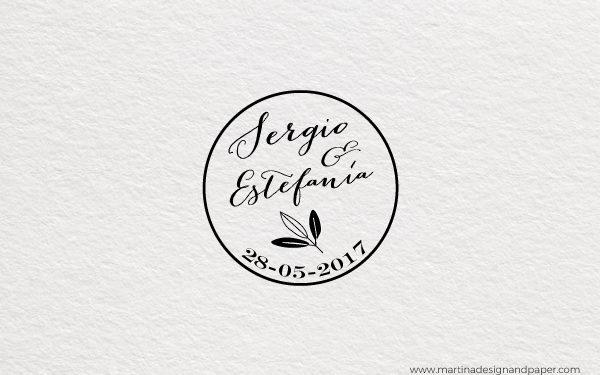 sello para boda rama de olivo