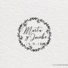 sello para bodas con corona de ramas romantico