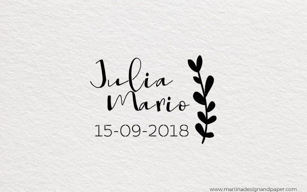 sello para personalizar boda con hojas