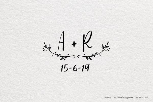 sello para personalizar boda con iniciales