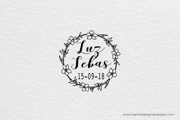 sello para personalizar boda con letras originales