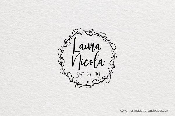 sello para personalizar boda corona laurel