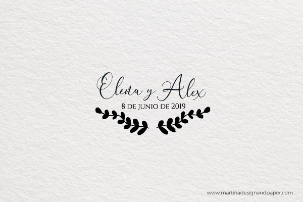 sellos de boda personalizados vintage