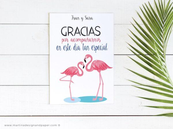 tarjeta gracias boda estilo tropical