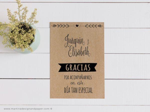 tarjeta gracias boda kraft