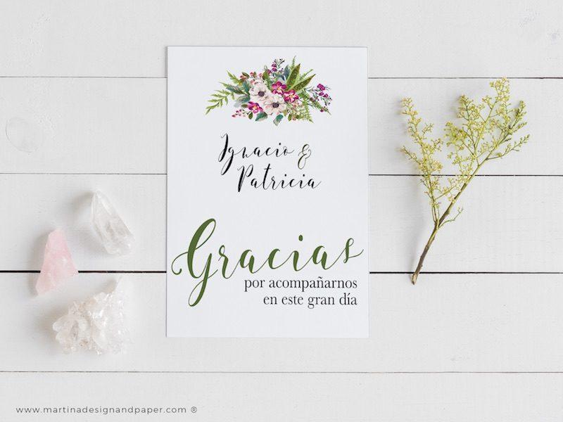 tarjetas de agradecimiento boda flores bonitas