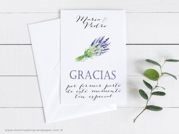 tarjetas de agradecimiento boda lavanda
