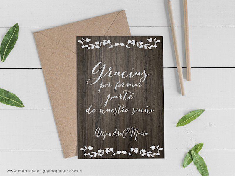 tarjetas de agradecimiento boda madera