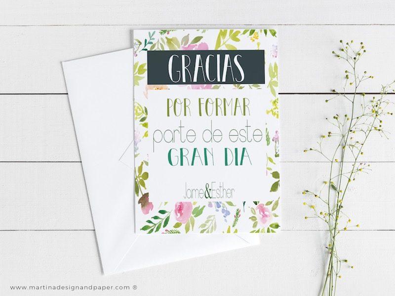 tarjetas de agradecimiento bodas frases estilo boda campestre