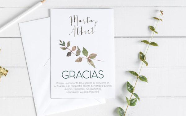 tarjetas gracias boda campestre