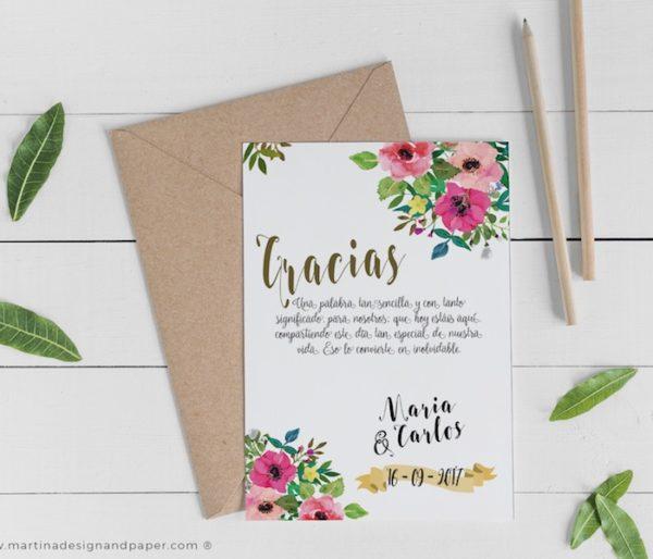 tarjetas gracias boda con flores originales