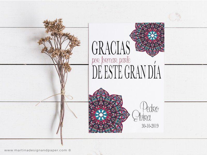 tarjetas gracias boda con mosaico modernista