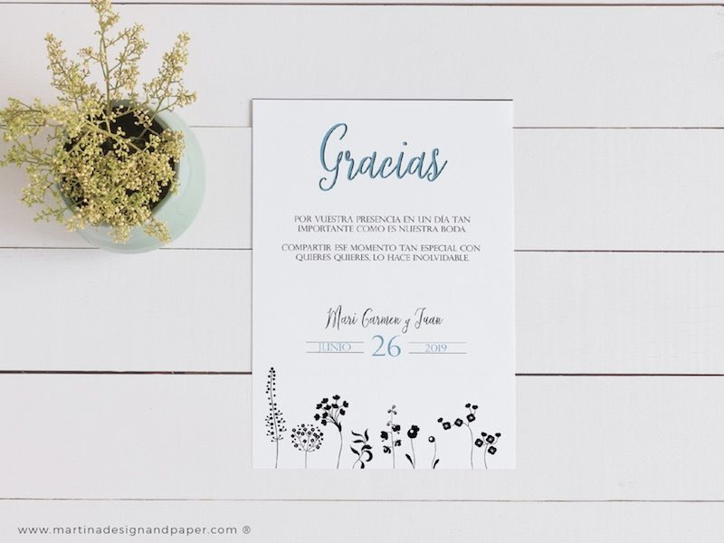 tarjetas gracias boda elegante