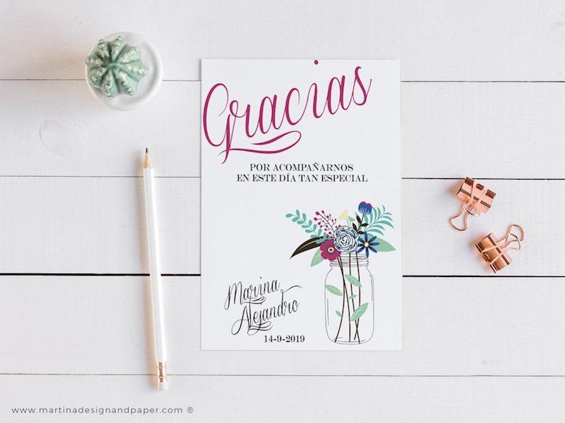 tarjetas gracias boda flores originales