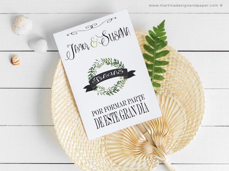 tarjetas gracias boda hojas verdes