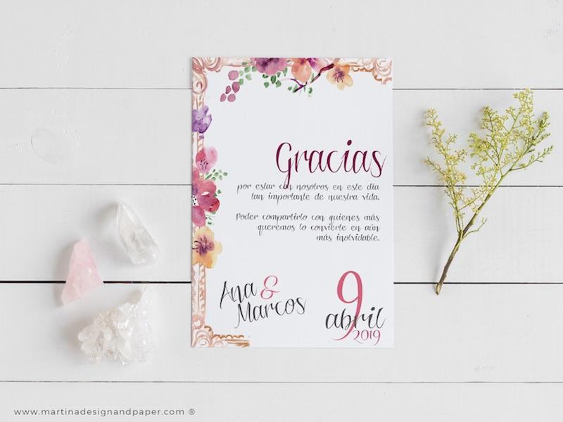 tarjetas gracias boda romantica