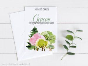 tarjetas gracias boda rural original