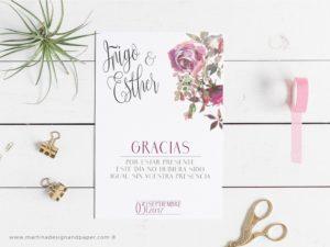 tarjeta gracias boda romantica