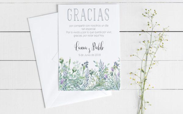 tarjetas gracias por venir boda campestre