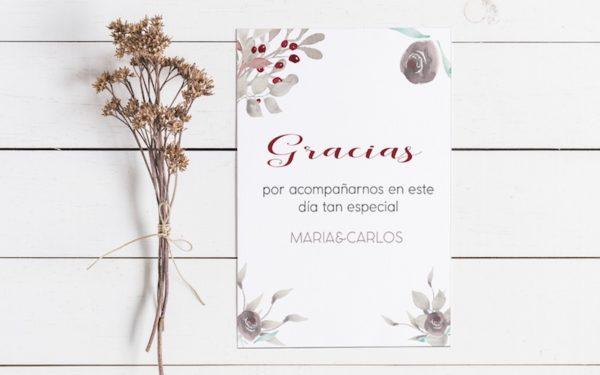 tarjetas gracias por venir boda en rojo