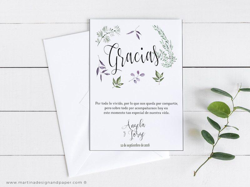 tarjetas gracias por venir boda hojas