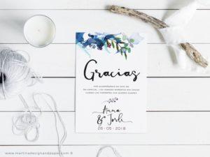 tarjetas gracias por venir boda moderna