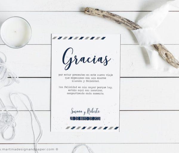 tarjetas gracias por venir boda viaje